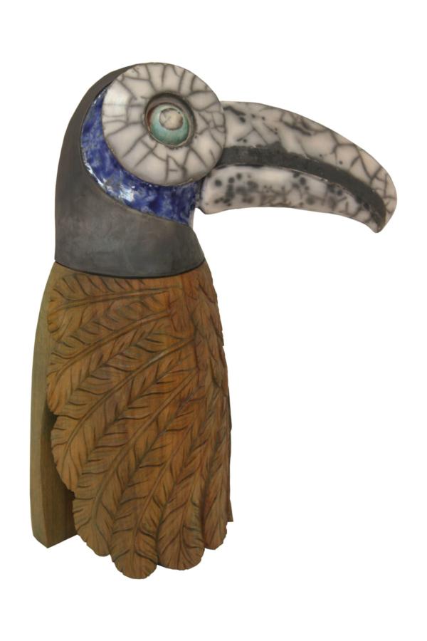 Toucan - Clarisse Roche Sculptures - Bois et Raku