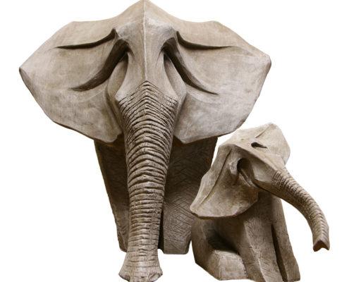 Maman Eléphant et son bébé - Clarisse Roche Sculptures